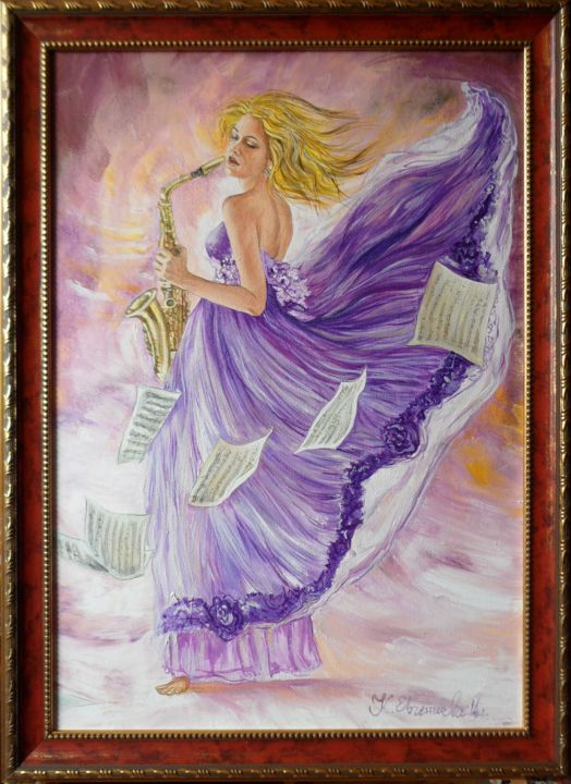 """Painting titled """"Woman-with-saxophone"""" by Katerina Evgenieva, Original Art, Oil"""