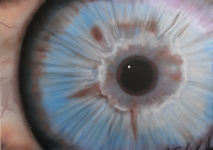 Auge ... 2019 - Painting,  19.7x27.6x0.4 in ©2019 by Matthias Lietz -                                            Art Deco, People, Airbrush
