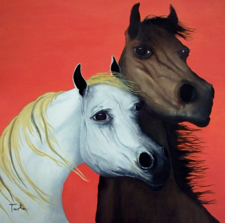 """Painting titled """"Horse Lovers in Red"""" by Patrick Trotter, Original Art, Oil"""
