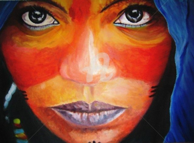 donna Tuareg - Painting,  90x125 cm ©2004 by Gian Piero Trucco -                            Contemporary painting, donna tuareg