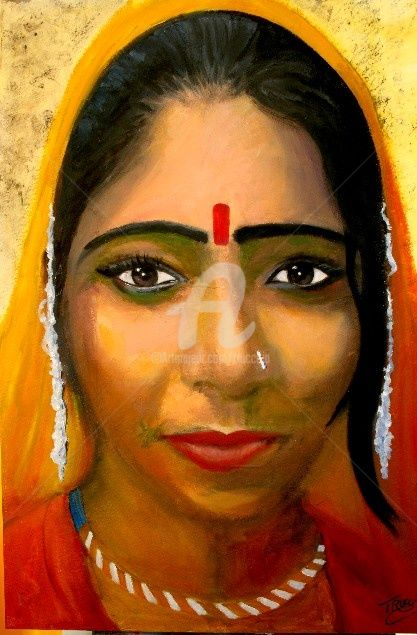 ragazza di Pushkar - Painting,  70x100 cm ©2009 by Gian Piero Trucco -                            Contemporary painting, ragazza di Pushkar