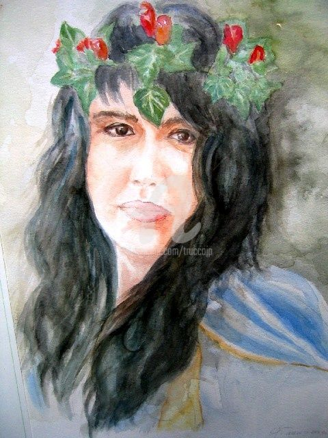 BARBARA - Painting,  50x30 cm ©2002 by Gian Piero Trucco -                        Classicism