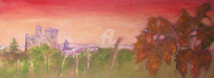 img-7144.jpg - Painting,  30x70x4 cm ©2015 by Gian Piero Trucco -                                                            Figurative Art, Canvas, Landscape, autunno a, Grinzane Cavour