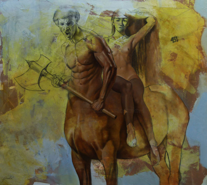 """Painting titled """"The Abduction of Hi…"""" by Tsanko Tsankov - Gallery Maestro, Original Art, Oil Mounted on Stretcher frame"""