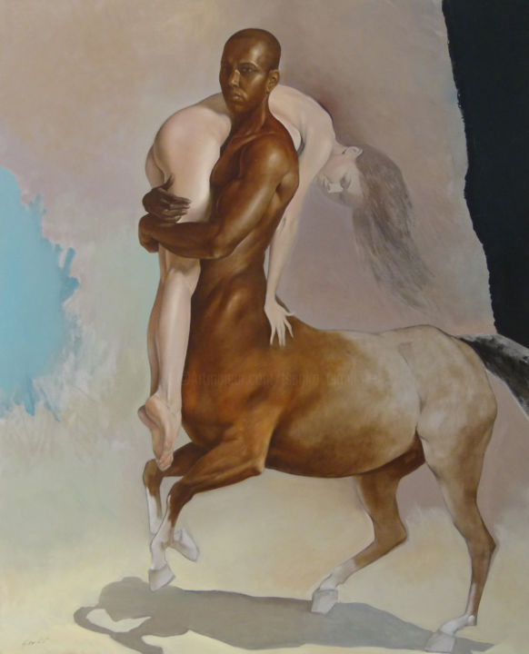 """Painting titled """"Kidnapped beauty"""" by Tsanko Tsankov - Gallery Maestro, Original Art, Oil Mounted on Stretcher frame"""