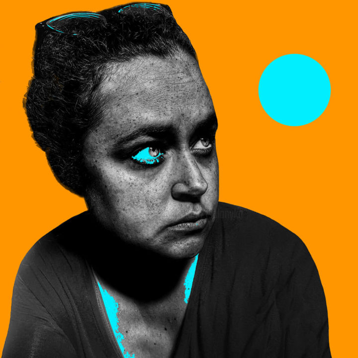 Blue Moon - Photography,  13x13x0.1 in, ©2019 by Tanya Solonyka -                                                                                                                                                                                                                                                                                                                                                                                                                                                                                                                                                                                                                                                                                  Pop Art, pop-art-615, Black and White, Colors, Geometric, Portraits, Women, pop art, moon, women, woman, contrast, black and white, portrait
