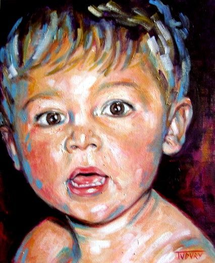 P'tit Louis - Painting,  46x38 cm ©2010 by Tudury Gallery -                                                                                    Contemporary painting, Portraiture, Canvas, Kids, Portraits, Bébé, enfant