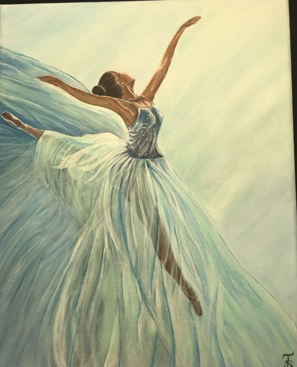 Ballerina - Painting,  11.8x9.5 in, ©2018 by TomrisArt -