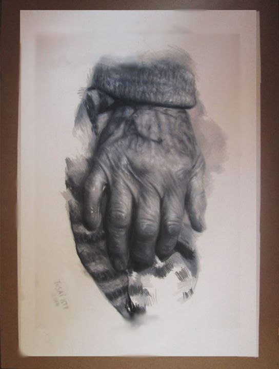 """Drawing titled """"Neve give up"""" by Tusai Isty, Original Art, Pencil"""