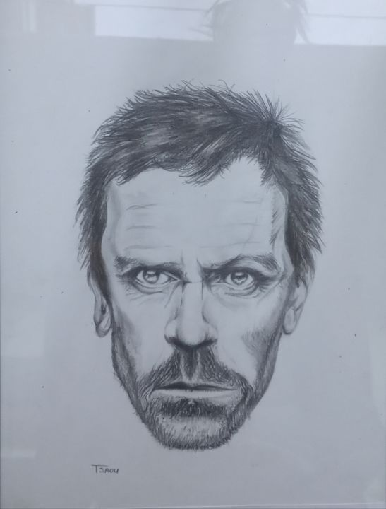 """Painting titled """"Dr House"""" by Tzina Tsaousi, Original Art, Pencil"""