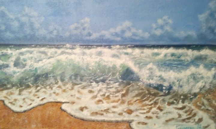 h4.jpg - Painting,  12.6x17.3 in, ©2017 by Dejan Gulicoski -                                                              Seascape