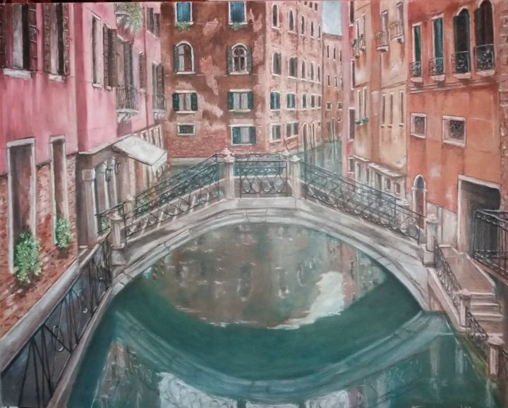 Venice 6 - Painting,  27.6x35.4 in, ©2017 by Dejan Gulicoski -                                                                                                                                                                                                  artwork_cat.Cities, Architecture, artwork_cat.Cityscape, Water