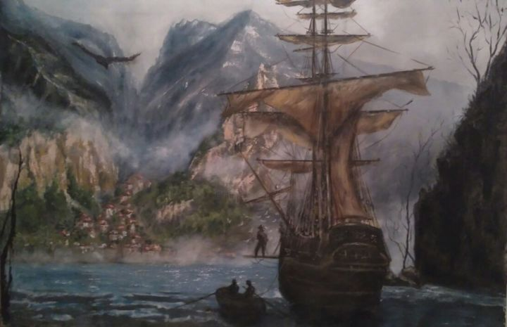 where eagles dare - Painting,  21.7x31.5 in, ©2016 by Dejan Gulicoski -                                                                                                                                                                                                                                              Boat, Mountainscape, Sailboat, Seascape, Ships