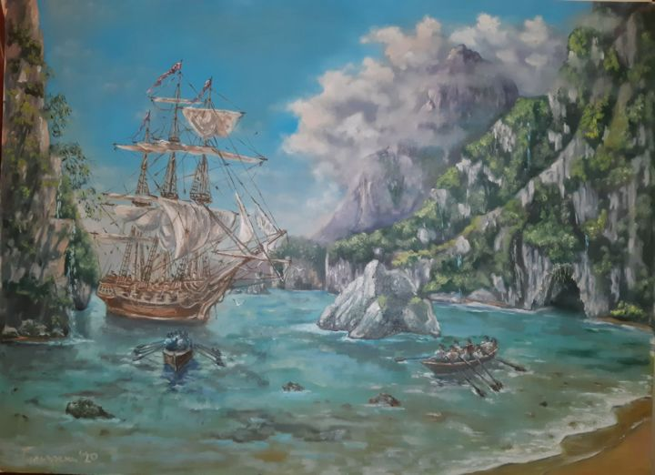 the great unknown - Painting,  33.5x45.3 in, ©2020 by Dejan Gulicoski -                                                                                                                                                                                                  Mountainscape, Sailboat, Seascape, Ships