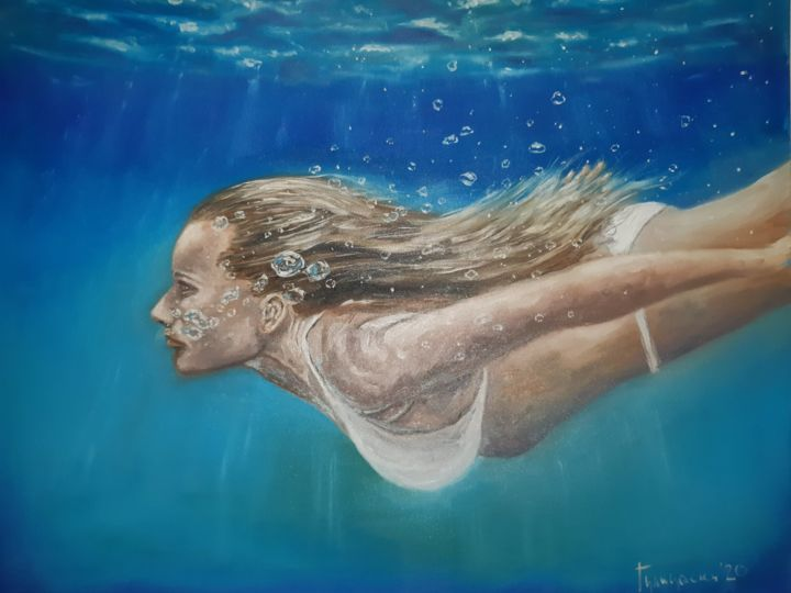 color me blue - Painting,  27.6x35.4 in, ©2020 by Dejan Gulicoski -                                                                                                                                                      Body, Water, Women