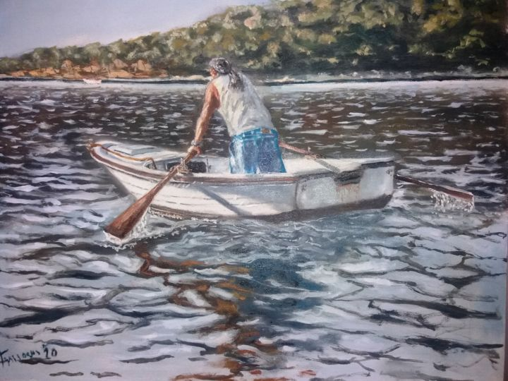king of kings - Painting,  19.7x23.6 in, ©2020 by Dejan Gulicoski -                                                                                                          Boat, Seascape