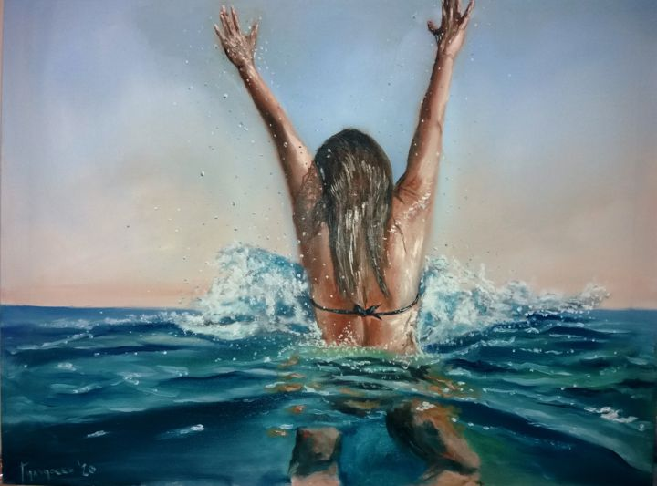 it's a beautiful day 2 - Painting,  27.6x35.4 in, ©2020 by Dejan Gulicoski -                                                                                                                                                                                                  Body, Seascape, Water, Women