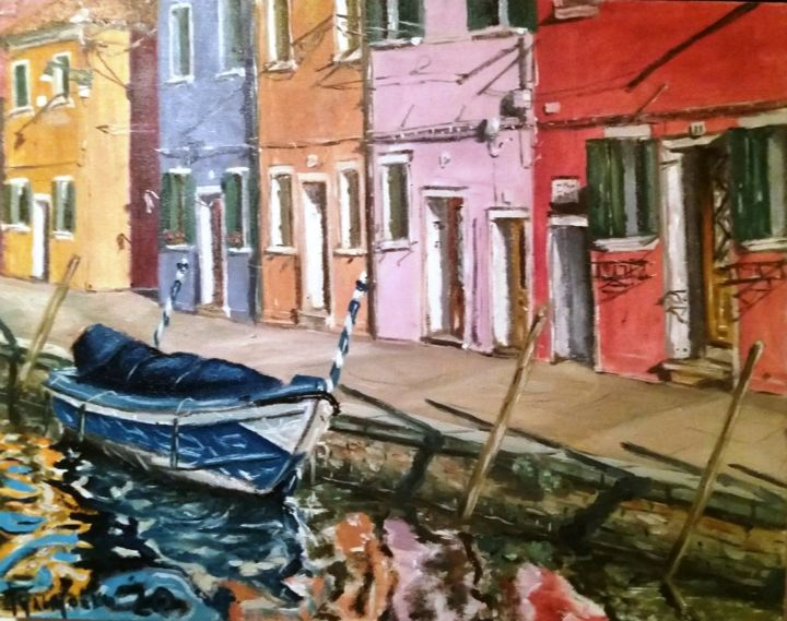 Burano,Venice - Painting,  15.8x19.7 in, ©2020 by Dejan Gulicoski -                                                                                                                                                                                                                                              Architecture, Boat, artwork_cat.Cities, artwork_cat.Cityscape, Water