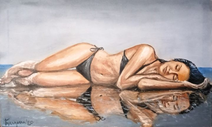 summertime sadness - Painting,  21.7x35.4 in, ©2020 by Dejan Gulicoski -                                                                                                                                                                                                  Beach, Body, Water, Women