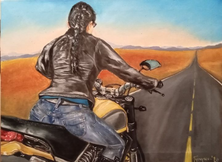 don't break my heart again - Painting,  23.6x31.5 in, ©2020 by Dejan Gulicoski -                                                                                                                                                      Bike, Motorcycle, Women