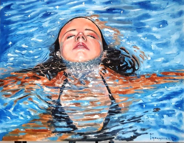 sweet sixteen - Painting,  27.6x35.4 in, ©2020 by Dejan Gulicoski -