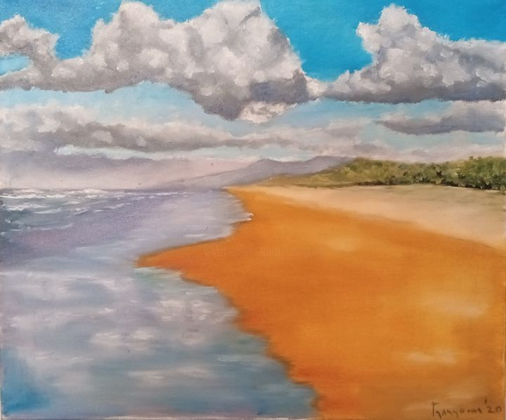 easy livin' - Painting,  19.7x23.6 in, ©2020 by Dejan Gulicoski -                                                                                                                                                                                                  Beach, Landscape, Nature, Seascape