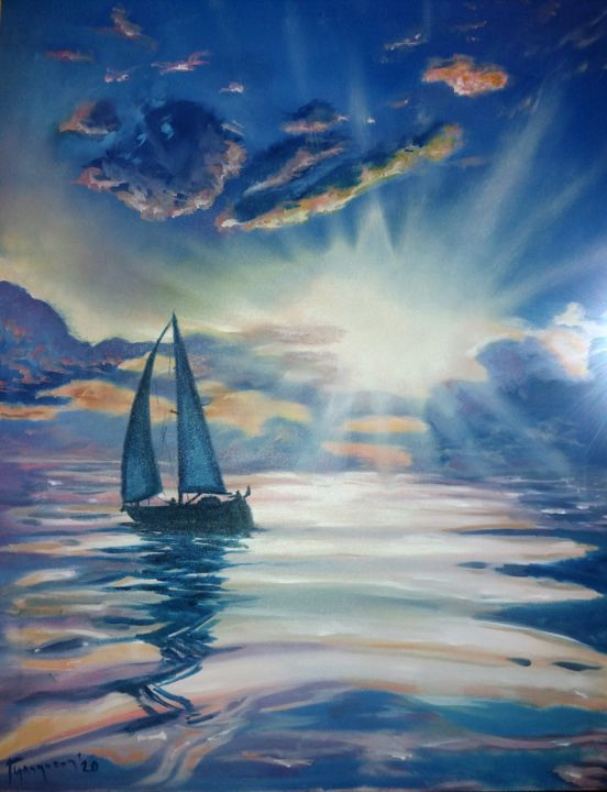 always the sun - Painting,  35.4x27.6 in, ©2020 by Dejan Gulicoski -