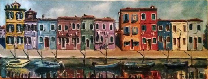 """Painting titled """"Burano 1"""" by Dejan Gulicoski, Original Art, Oil"""