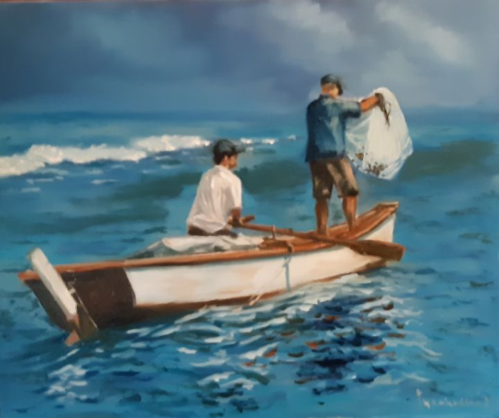 """Painting titled """"summertime blues"""" by Dejan Gulicoski, Original Art, Oil"""
