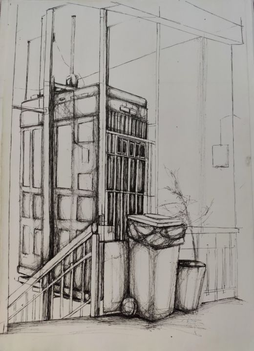 Elevator - Drawing,  19.7x13.8x0.4 in, ©2018 by Uğur Ergül -                                                                                                                                                                                                                      Impressionism, impressionism-603, Landscape, Black and White