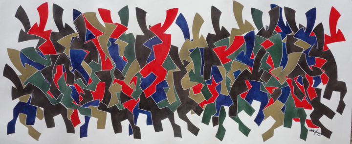 Die Stunde Des Einhorns - Painting,  50x120 cm ©2018 by Ulli Heupel -                                                                                                        Abstract Art, Abstract Expressionism, Expressionism, Abstract Art, Classical mythology, Science-fiction, Animals, Farbe, Fantasie, Einhorn, unicorn, Sage