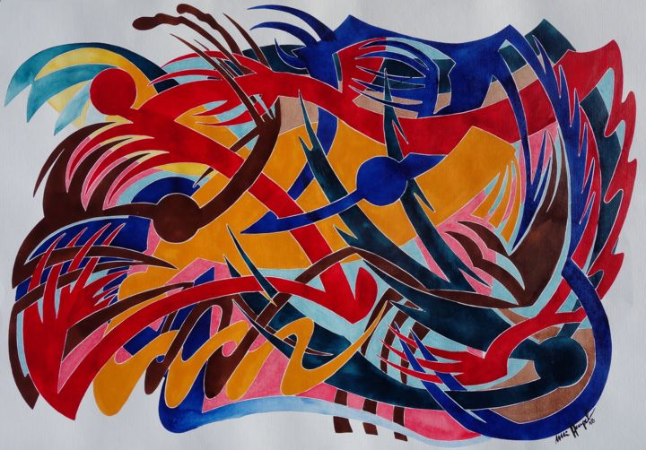Engel Überall - Painting,  70x100 cm ©2018 by Ulli Heupel -                                                                                                                    Abstract Art, Abstract Expressionism, Art Deco, Expressionism, Abstract Art, Architecture, Performing Arts, Angels, Farben, Fantasie, Himmel