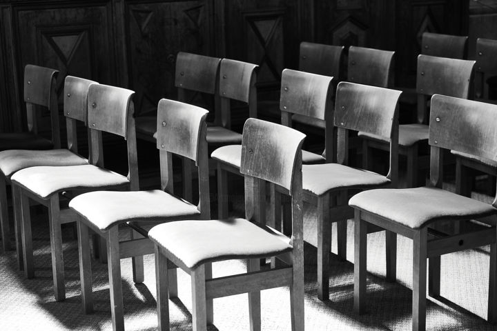 Empty Chairs - Photography,  14.2x18.9 in, ©2019 by Ulli Heupel -                                                                                                                                                                                                                                                                                                                                                                                                                                                      Figurative, figurative-594, World Culture, Travel, Religion, Kirche, Kathedrale, Sitz, Stuhl