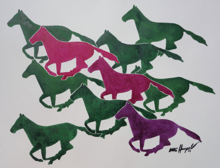Running Horses VI - Painting,  14.2x18.1x0.4 in, ©2015 by Ulli Heupel -                                                                                                                                                                                                                                                                                                                                                                                                                                                                                                                                                                                                                  Rural life, Nature, Horses, Animals, Pferd, Pony, Ponyhof, Reitschule, Ponyhof Georgenbruch, Everswinkel, Warendorf, Münsterland, Reiten