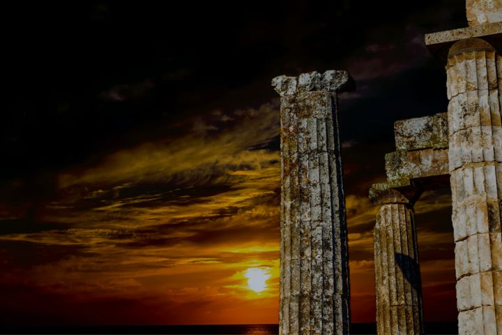 Greece - Digital Arts ©2017 by Ulli Heupel -                                                                Architecture, History, Health & Beauty, Classical mythology, Nemea, Griechenland, Peleponnes, Sonnenuntergang