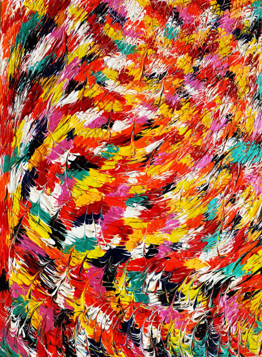 Flou - Painting,  31.5x23.6 in, ©201 by Ulysse Pillerel -                                                                                                                                                                                                                                                                                                                                                                                                                                                      Abstract, abstract-570, Abstract Art, soleil, abstrait, couleurs, mouvement, reliefs, danse