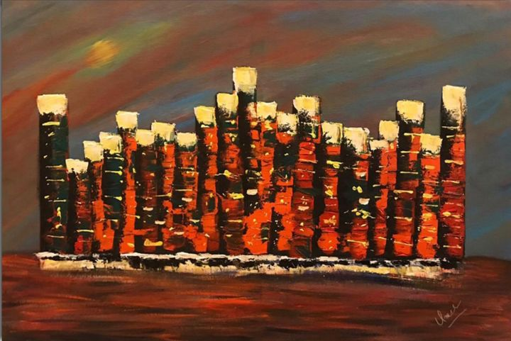 """Painting titled """"Abstract building n…"""" by Muhammad Umer Farooq, Original Art,"""