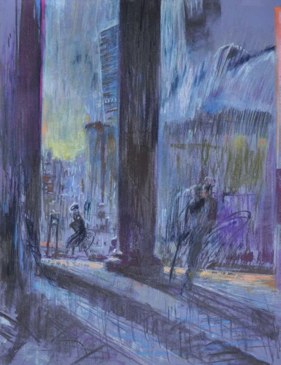 Kolumny przed National Gallery | Columns in front - Painting,  68x48x2 cm ©2003 by Edward Umiński -                                                                                    Impressionism, Paper, Architecture, World Culture, People, city, London, Columns, National Gallery, Gallery