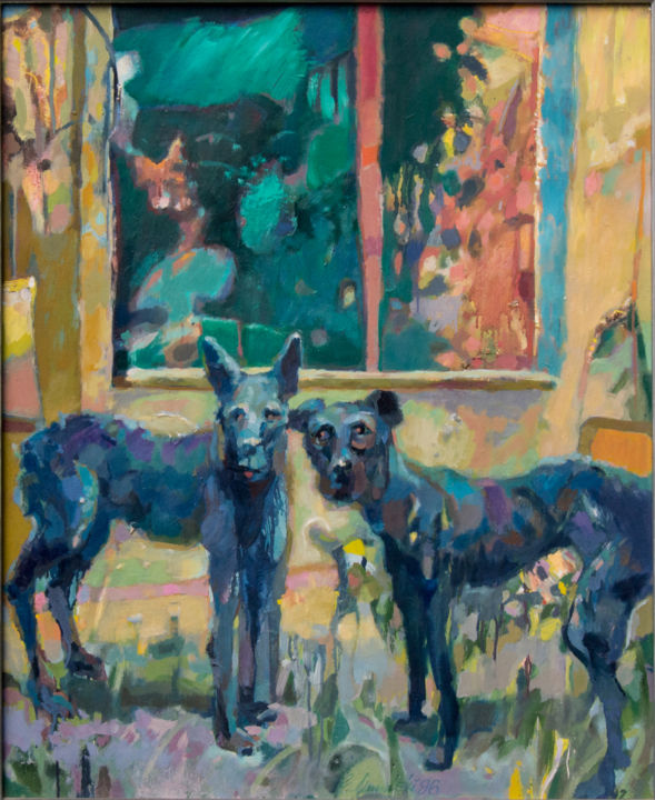 Psy   Dogs - Painting, ©1996 by Edward Umiński -                                                                                                                                                                                                                                                                                                                                                                                                                                                          Expressionism, expressionism-591, Pulpboard, Spirituality, Places, Animals, Dogs, dark, landscape
