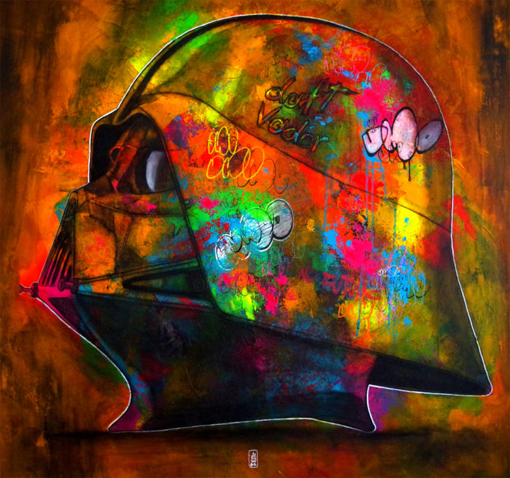 Dark Vador - Painting,  100x100x4 cm ©2016 by UMO MASADA -                                                                                                Pop Art, Street Art (Urban Art), Canvas, Cinema, Graffiti, Science-fiction, starwars, darkvador, darthvader, casque, helmet, daftpunk, graffiti, streetart, popart, umo, umomasada, coloré, colorful