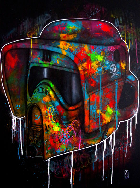 Scout Trooper - © 2016 starwars, graffiti, streetart, popart, culturepop, stormtrooper, scoutrooper, casque, helmet, coulures, couleurs, colorful, umo, umomasada, tag Online Artworks