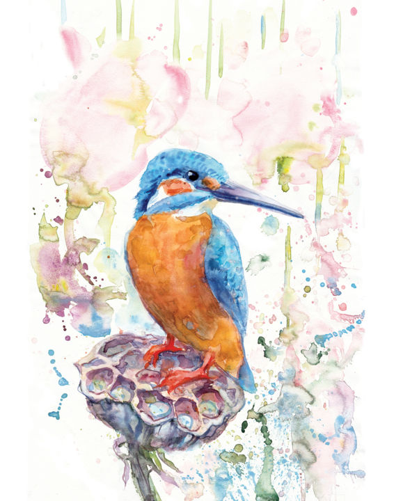 """Painting titled """"Kingfisher on the l…"""" by Alyona Masterkova, Original Art, Watercolor"""