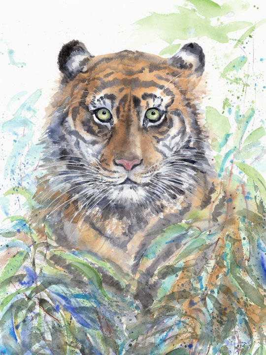 """Painting titled """"Tiger in the thicke…"""" by Alyona Masterkova, Original Art, Watercolor"""