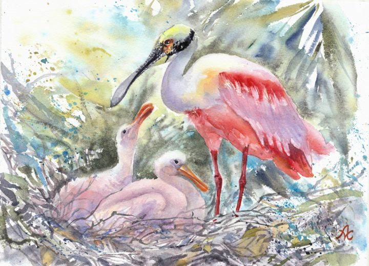 """Painting titled """"Roseate Spoonbill w…"""" by Alyona Masterkova, Original Art, Watercolor"""