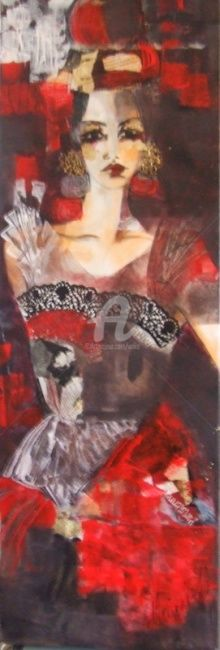CHIC!!!!!!!!! - Painting,  40x120 cm ©2009 by Audrey Marienkoff -            femme contemprain or  rouge