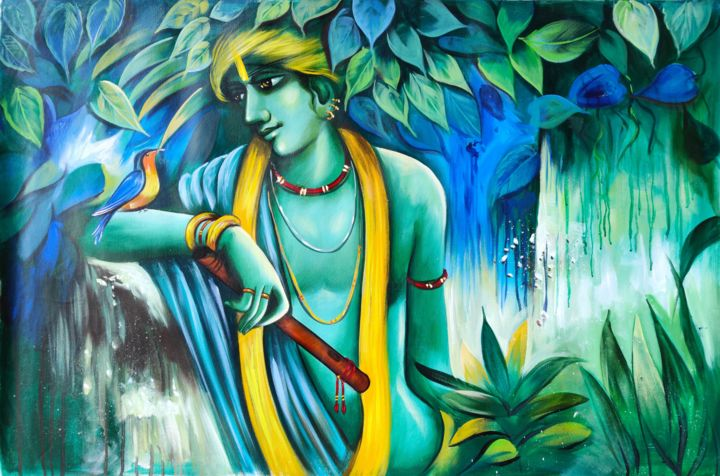 """Painting titled """"THE DEVINE OF KRISH…"""" by Unknow Artist, Original Art, Acrylic"""
