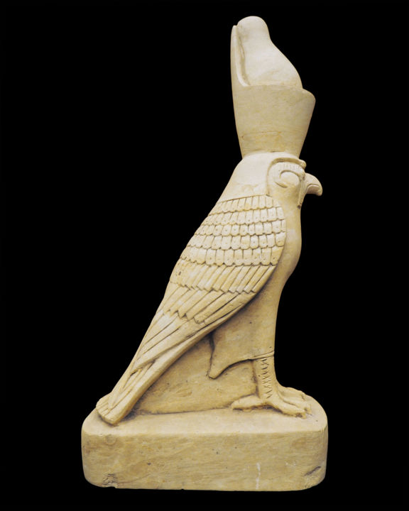 Egyptian limestone Horus falcon - Sculpture,  16.5x7.9 in, ©1930 by Unknown Unknown -                                                                                                                                                                                                                                                                                                                                                                                                                                                                                                                                                                      Animals, Birds, History, horus, ancient egypt, falcon, bird, limestone, egyptian art, egyptian sculpture, egyptian statue, egyptian god
