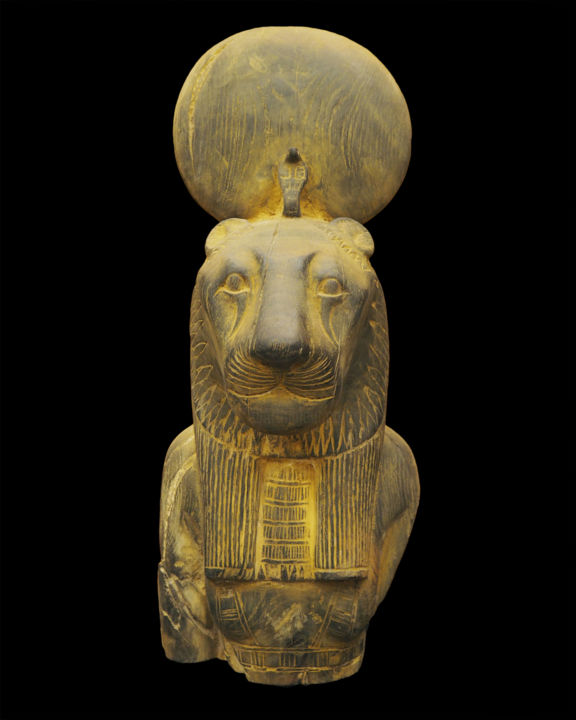 Egyptian wooden sculpture of Sekhmet - Sculpture,  20.9x7.5 in, ©1940 by Unknown Unknown -                                                                                                                                                                                                                                                                                                                                                                                                                                                                              Animals, History, sekhmet, lion, egyptian statue, egyptian sculpture, ancient art, ancient egypt, egyptian god, wooden sculpture