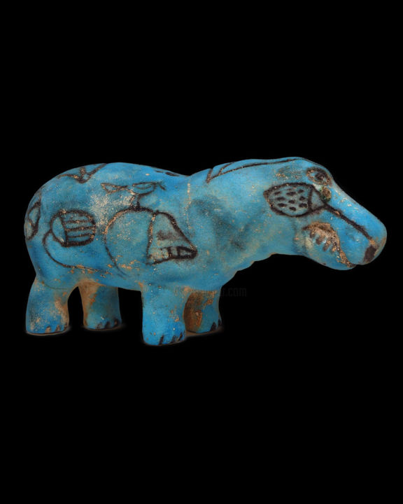 Egyptian blue faience hippopotamus - Sculpture,  3.2x6.3 in, ©1925 by Unknown Unknown -                                                                                                                                                                                                                                                                                                                                                                                                                                                                              Animals, History, hippopotamus, faience hippo, blue faience, egyptian hippo, egyptian sculpture, egyptian statue, ancient art, ancient egypt