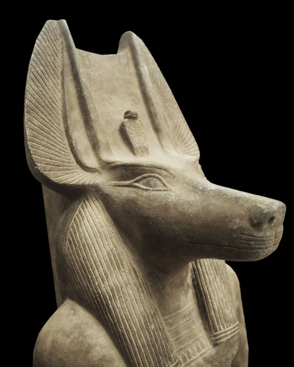 Large granite statue of Anubis - Sculpture,  48.8x19.7 in, ©1940 by Unknown Unknown -                                                                                                                                                                                                                                                                                                                                                                                                                                  Animals, History, anubis, jackal, ancient egypt, egyptian sculpture, egyptian statue, granite statue, egyptian art